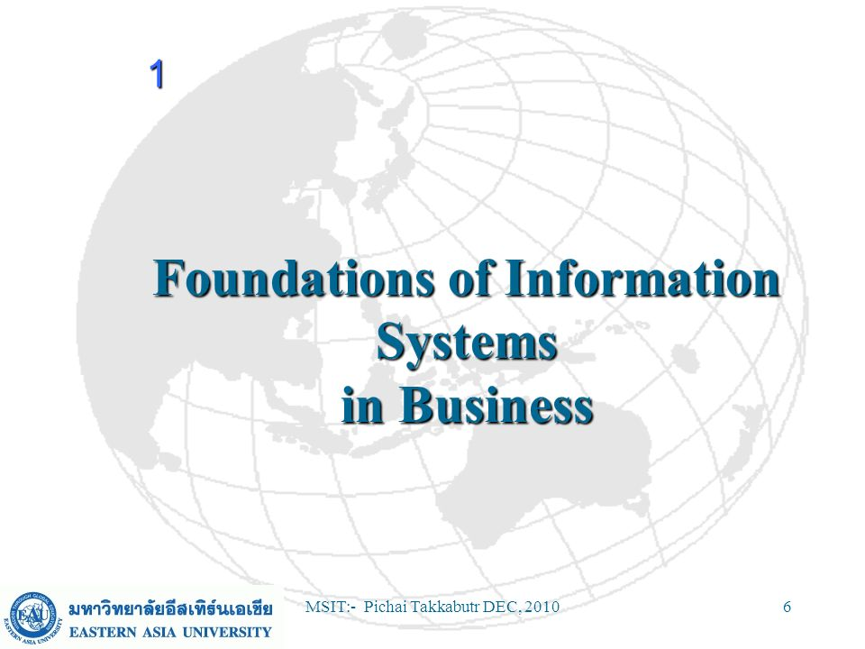 MSIT:- Pichai Takkabutr DEC, 201037 Discussion Questions (continued) In what major ways have the roles of information systems applications in business expanded during the last 40 years.