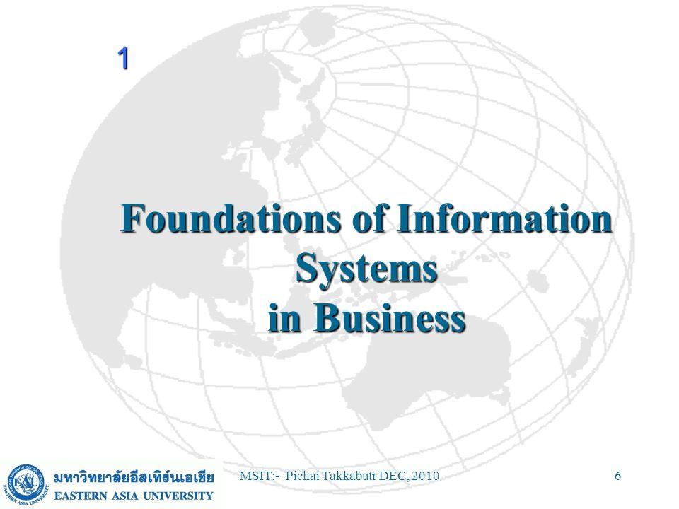 MSIT:- Pichai Takkabutr DEC, 201017 Components of an Information System (Continued) Data ResourcesData Resources –Data versus Information Network ResourcesNetwork Resources –Communication media –Network support 1