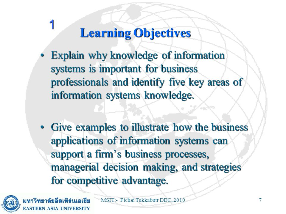 MSIT:- Pichai Takkabutr DEC, 201028 Trends in Information Systems 1