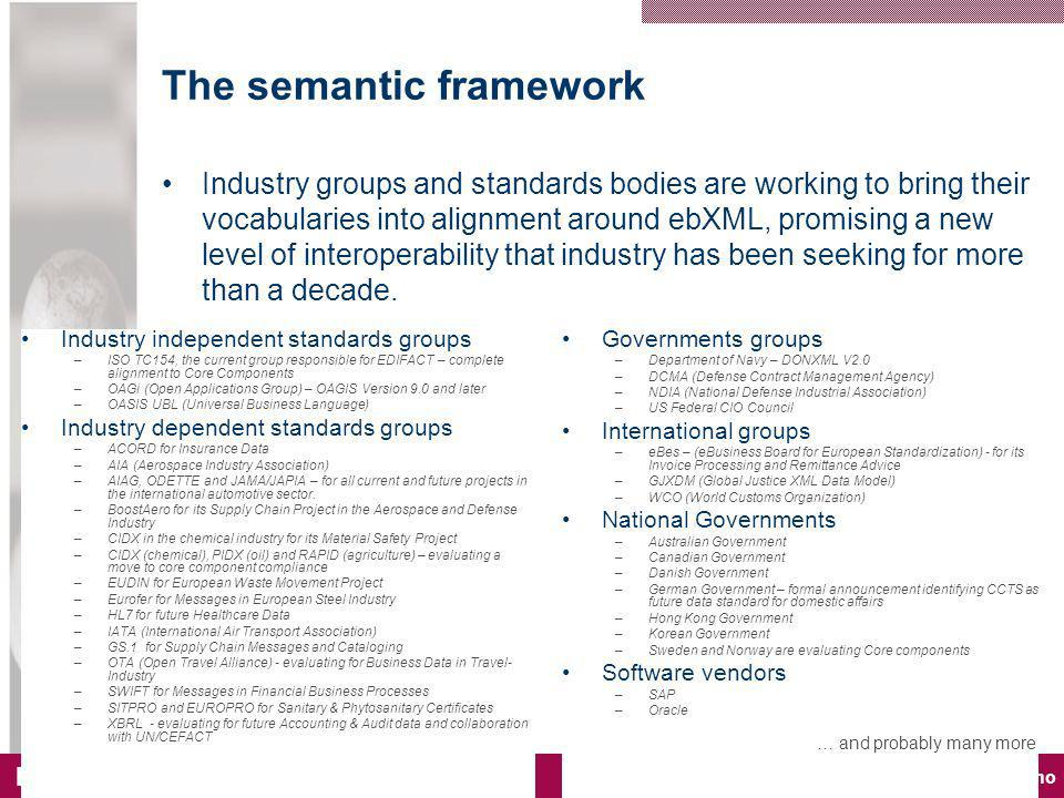 www.edisys.no EdiSys © 2006 The semantic framework Industry groups and standards bodies are working to bring their vocabularies into alignment around