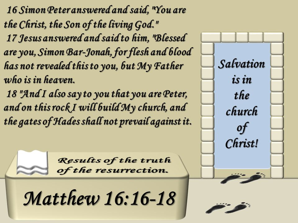 Salvation is in the church of Christ! 16 Simon Peter answered and said,