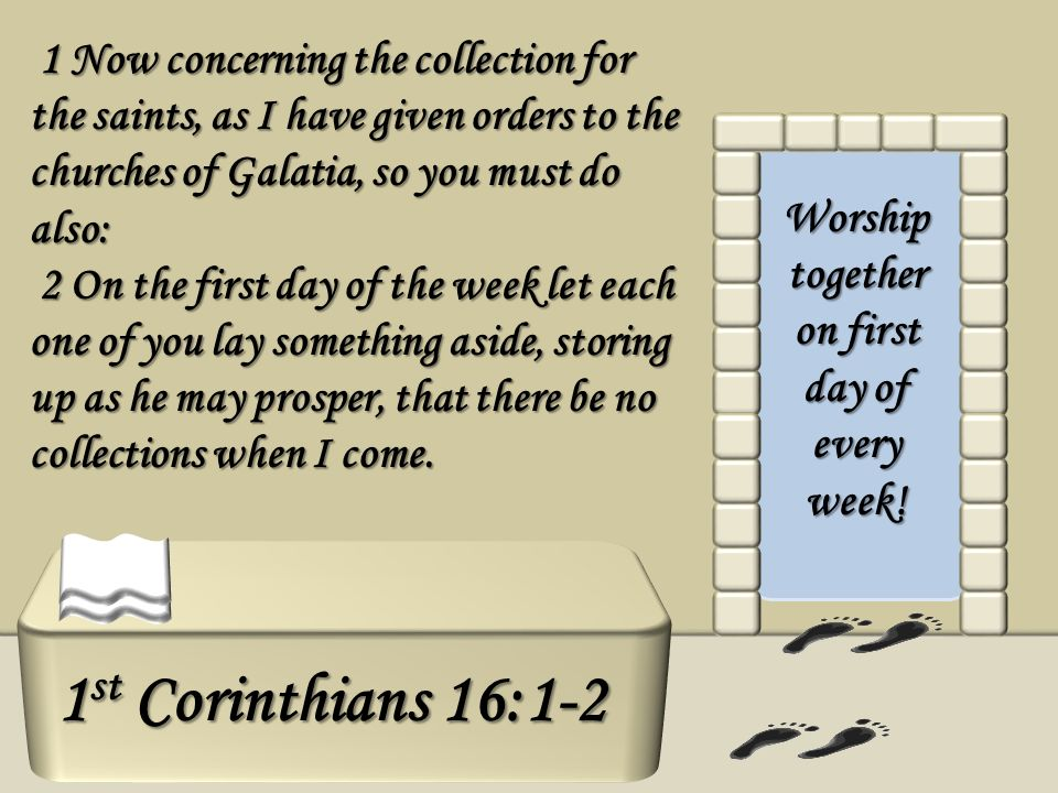 1 Now concerning the collection for the saints, as I have given orders to the churches of Galatia, so you must do also: 1 Now concerning the collectio