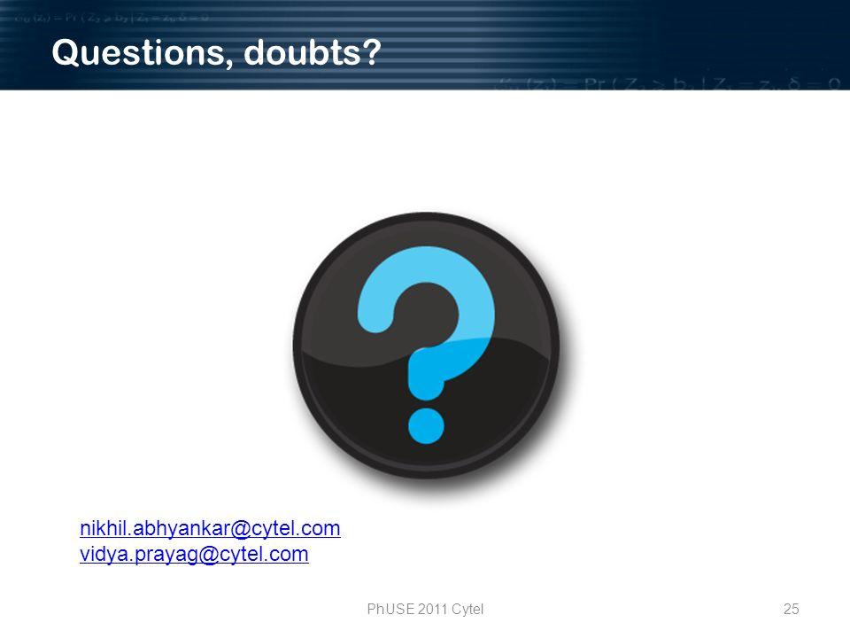 PhUSE 2011 Cytel25 nikhil.abhyankar@cytel.com vidya.prayag@cytel.com Questions, doubts?