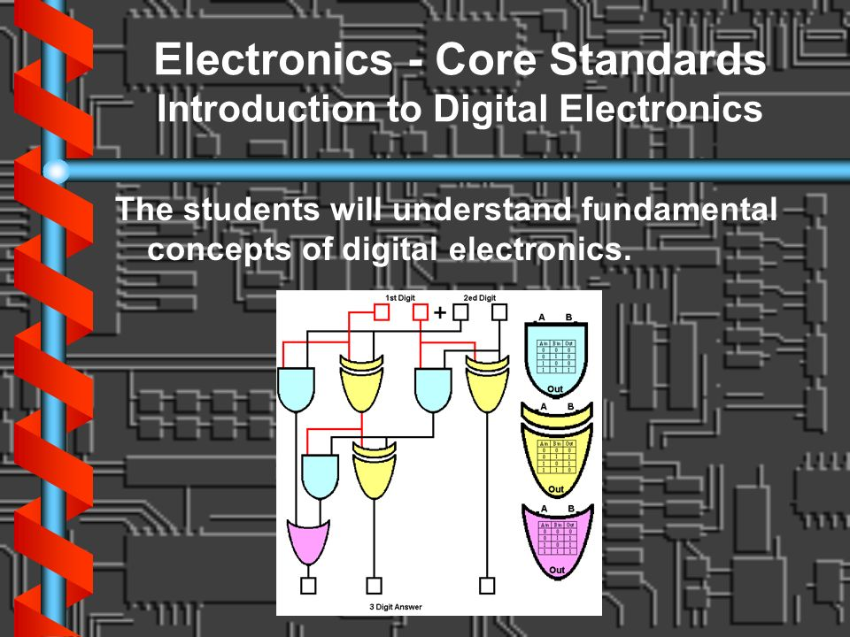 Electronics - Core Standards Introduction to Digital Electronics The students will understand fundamental concepts of digital electronics.