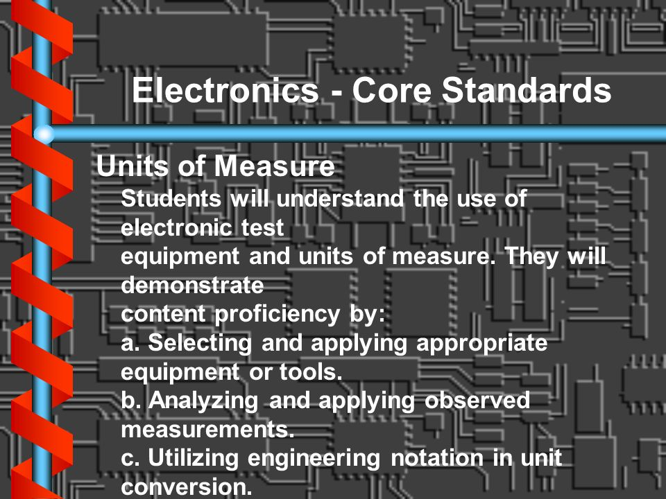 Electronics - Core Standards Units of Measure Students will understand the use of electronic test equipment and units of measure. They will demonstrat