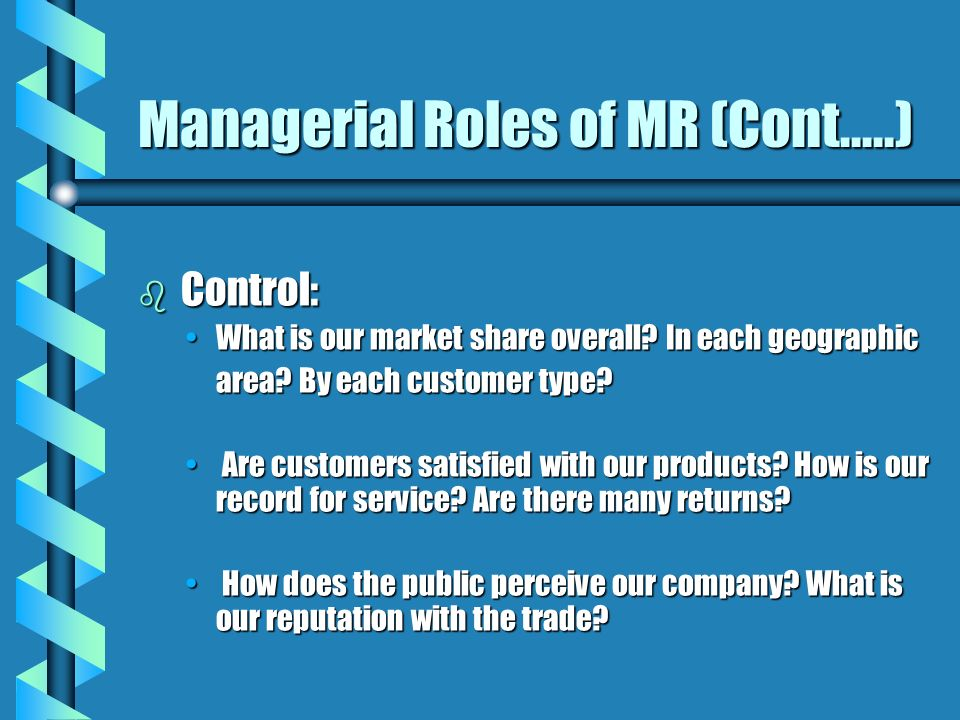 Managerial Roles of MR (Cont.....) b Control: What is our market share overall? In each geographicWhat is our market share overall? In each geographic