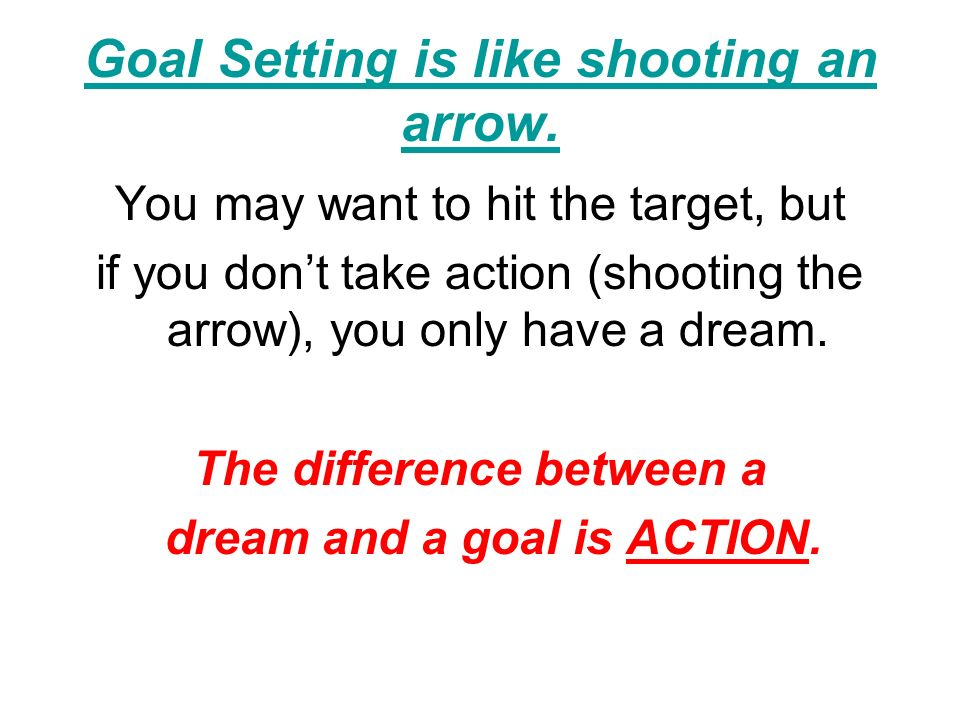 Goal Setting is like shooting an arrow.
