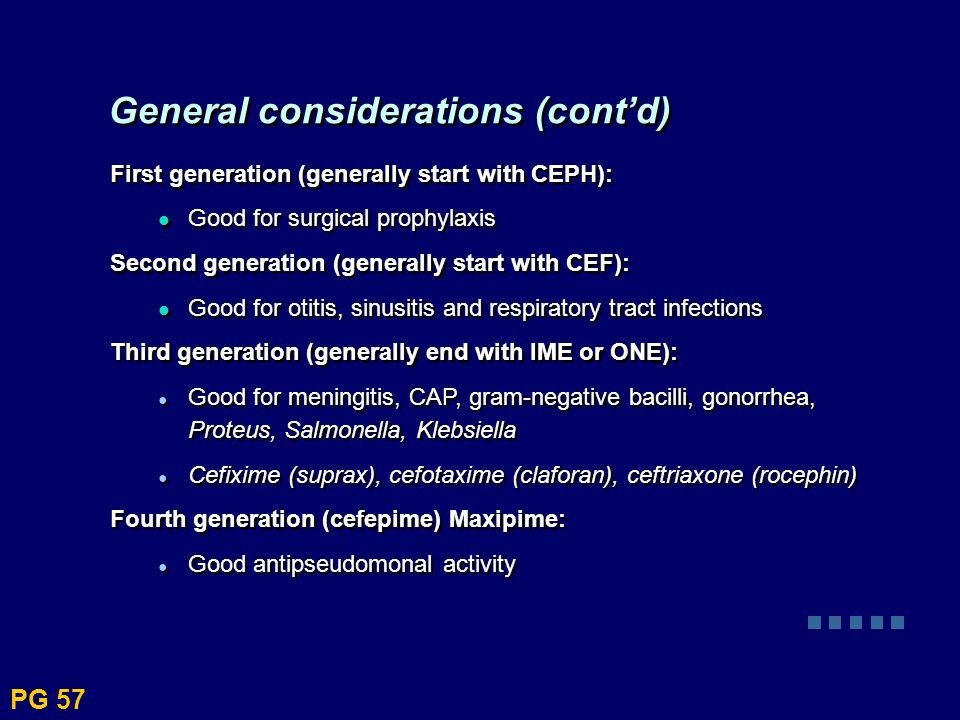 First generation (generally start with CEPH): Good for surgical prophylaxis Second generation (generally start with CEF): Good for otitis, sinusitis a