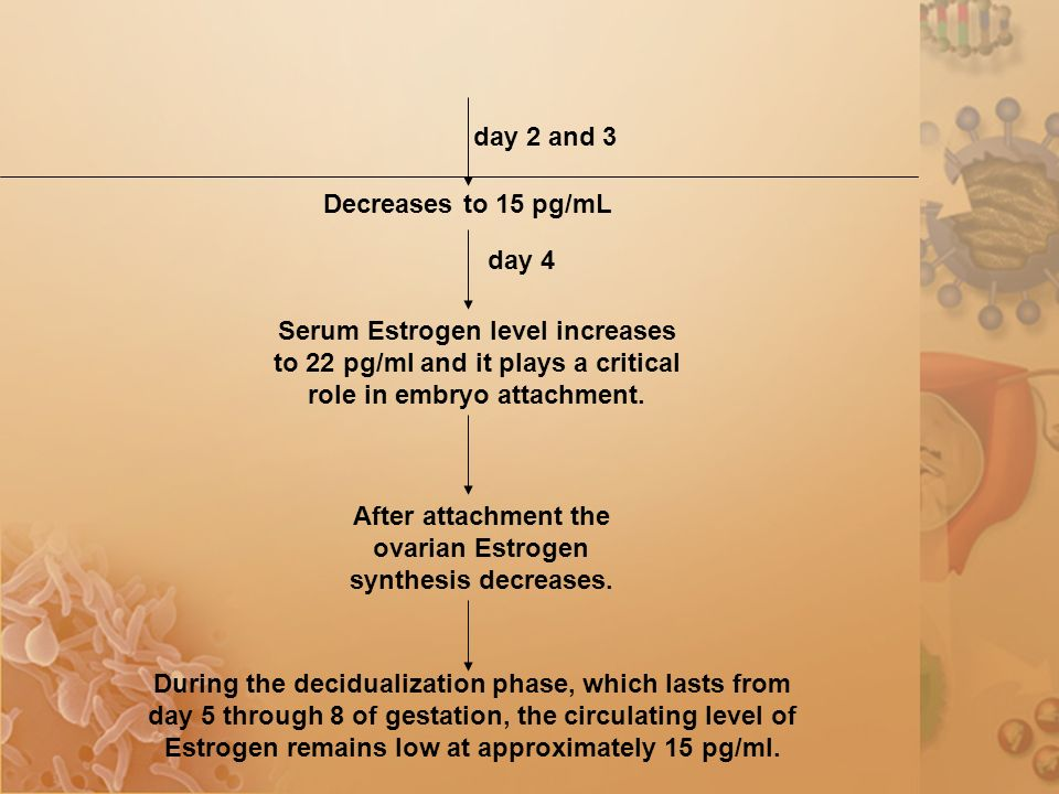 Decreases to 15 pg/mL day 2 and 3 day 4 Serum Estrogen level increases to 22 pg/ml and it plays a critical role in embryo attachment.