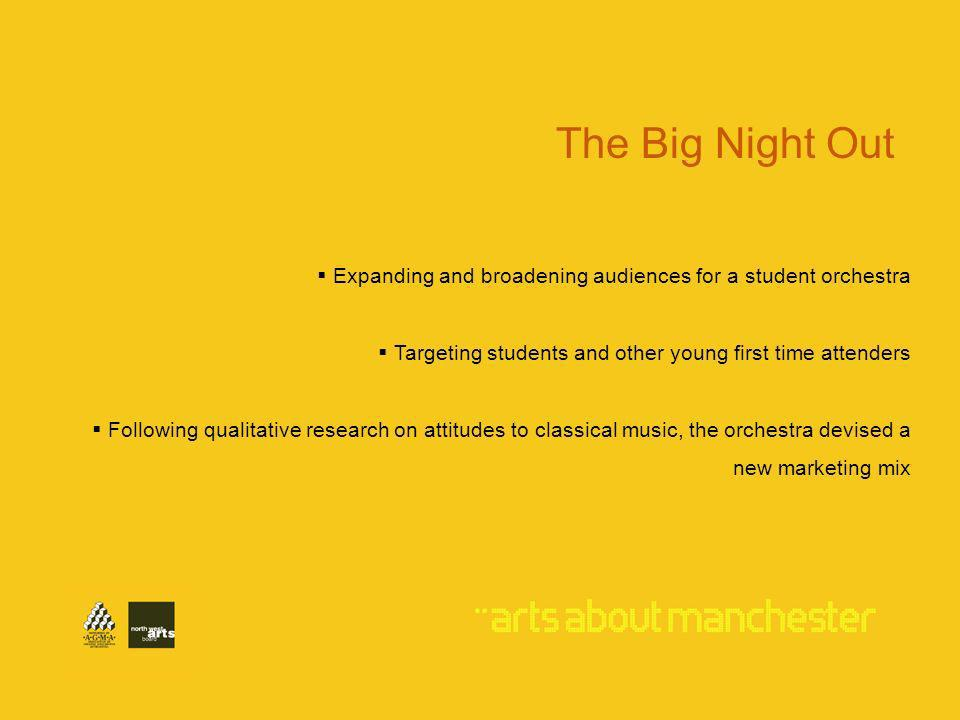 Expanding and broadening audiences for a student orchestra Targeting students and other young first time attenders Following qualitative research on attitudes to classical music, the orchestra devised a new marketing mix The Big Night Out