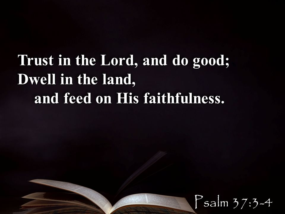 Trust in the Lord, and do good; Dwell in the land, and feed on His faithfulness.