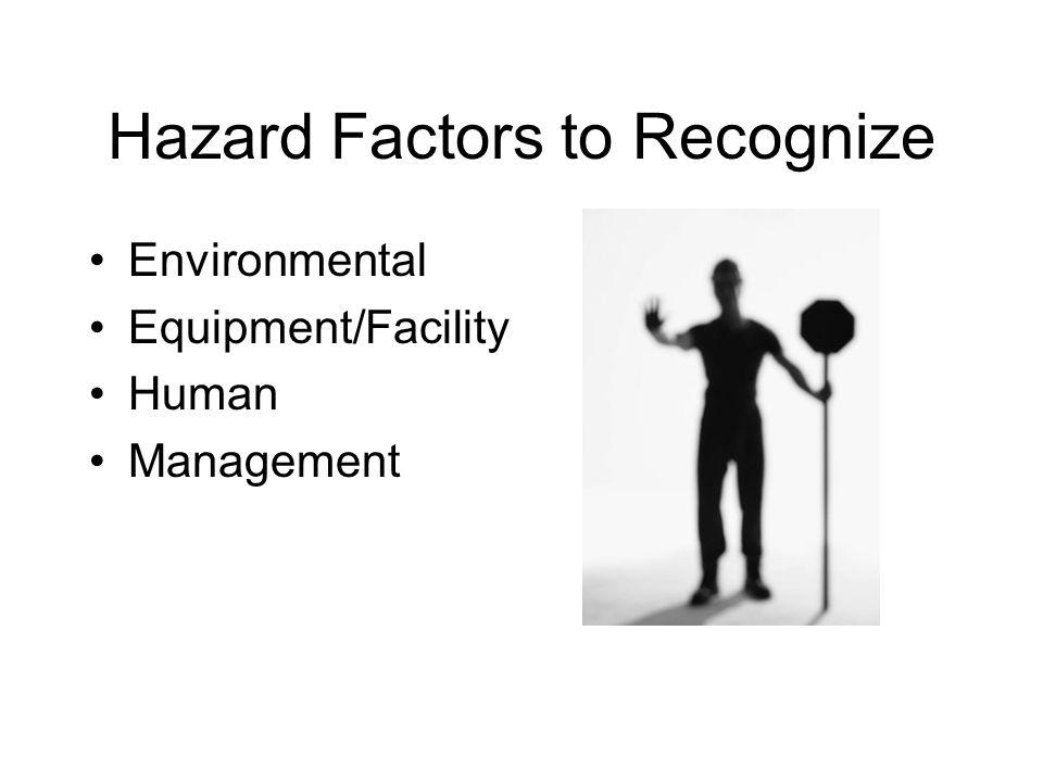 Hazard Factors to Recognize Environmental Equipment/Facility Human Management