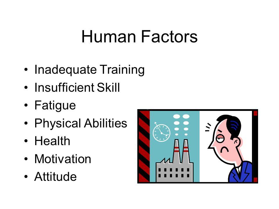 Human Factors Inadequate Training Insufficient Skill Fatigue Physical Abilities Health Motivation Attitude