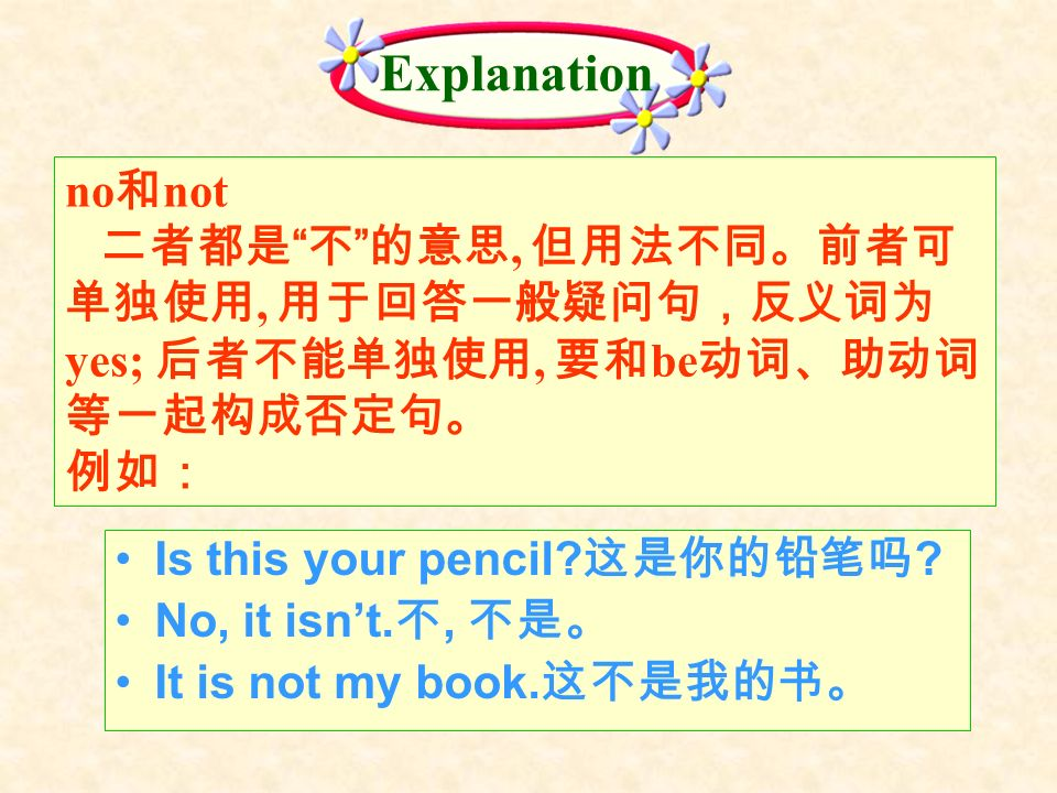 no not,, yes;, be Is this your pencil? ? No, it isnt., It is not my book. Explanation