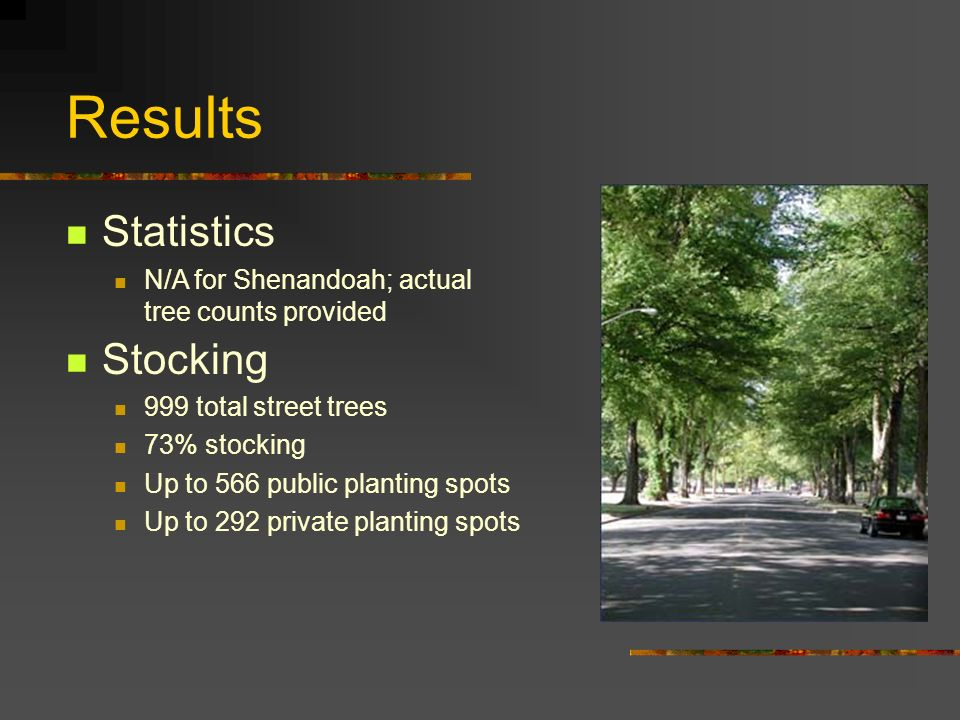 Up to 566 public planting spots Up to 292 private planting spots Results Statistics N/A for Shenandoah; actual tree counts provided Stocking 999 total street trees 73% stocking