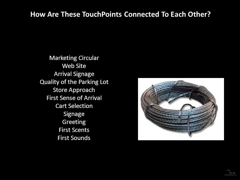Roy Barnes unleashing possibility How Are These TouchPoints Connected To Each Other? Marketing Circular Web Site Arrival Signage Quality of the Parkin