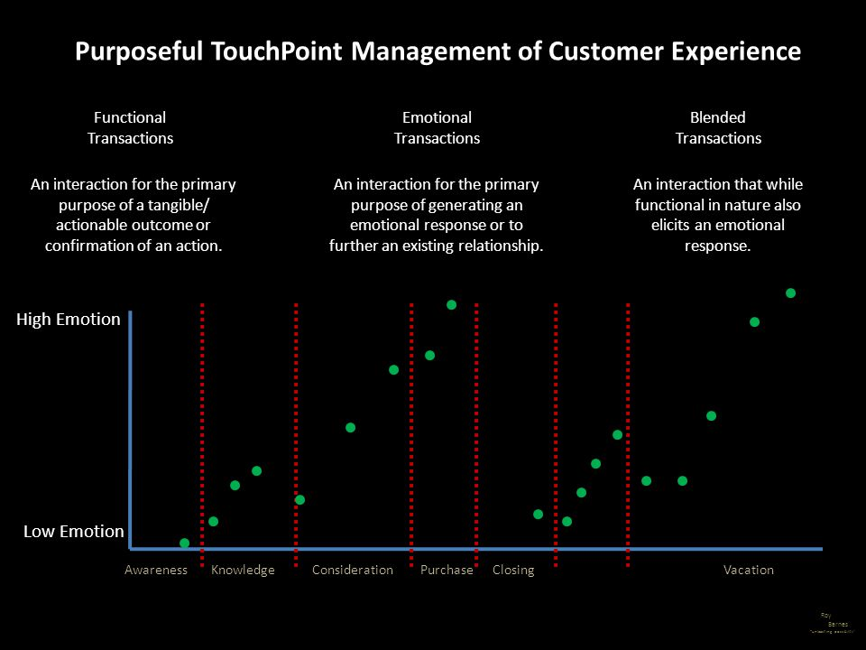 Roy Barnes unleashing possibility Purposeful TouchPoint Management of Customer Experience Functional Transactions An interaction for the primary purpo