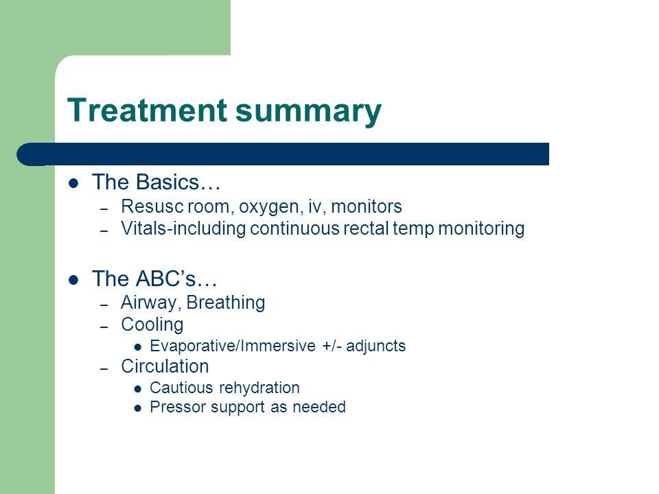 Treatment summary contd More ABCDEs….+/- Antibiotics.