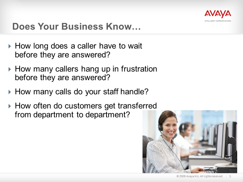 © 2009 Avaya Inc. All rights reserved. Does Your Business Know… How long does a caller have to wait before they are answered? How many callers hang up