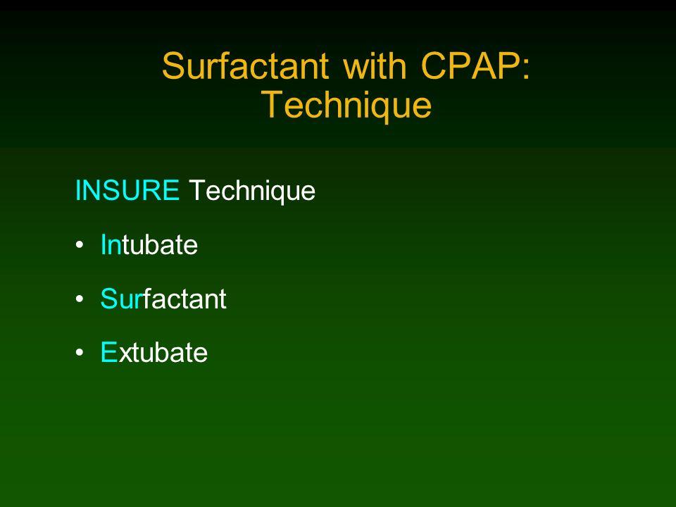 Surfactant with CPAP: Technique INSURE Technique Intubate Surfactant Extubate