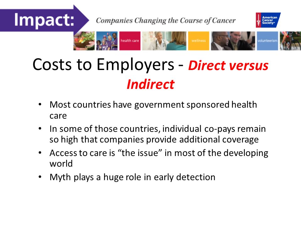 Costs to Employers - Direct versus Indirect Most countries have government sponsored health care In some of those countries, individual co-pays remain so high that companies provide additional coverage Access to care is the issue in most of the developing world Myth plays a huge role in early detection
