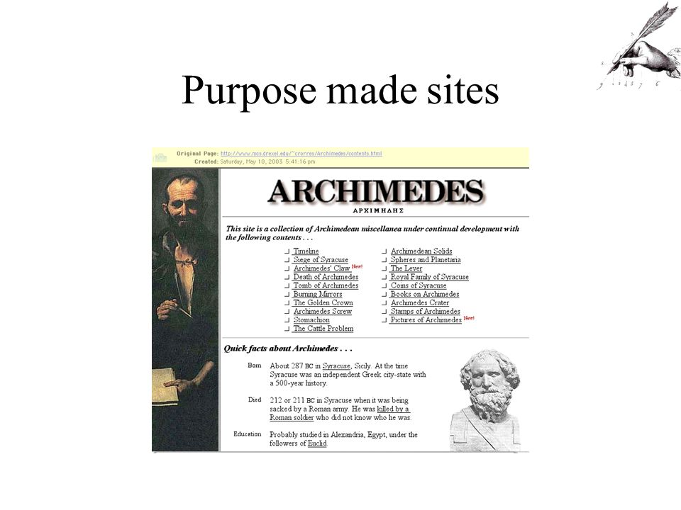 Purpose made sites