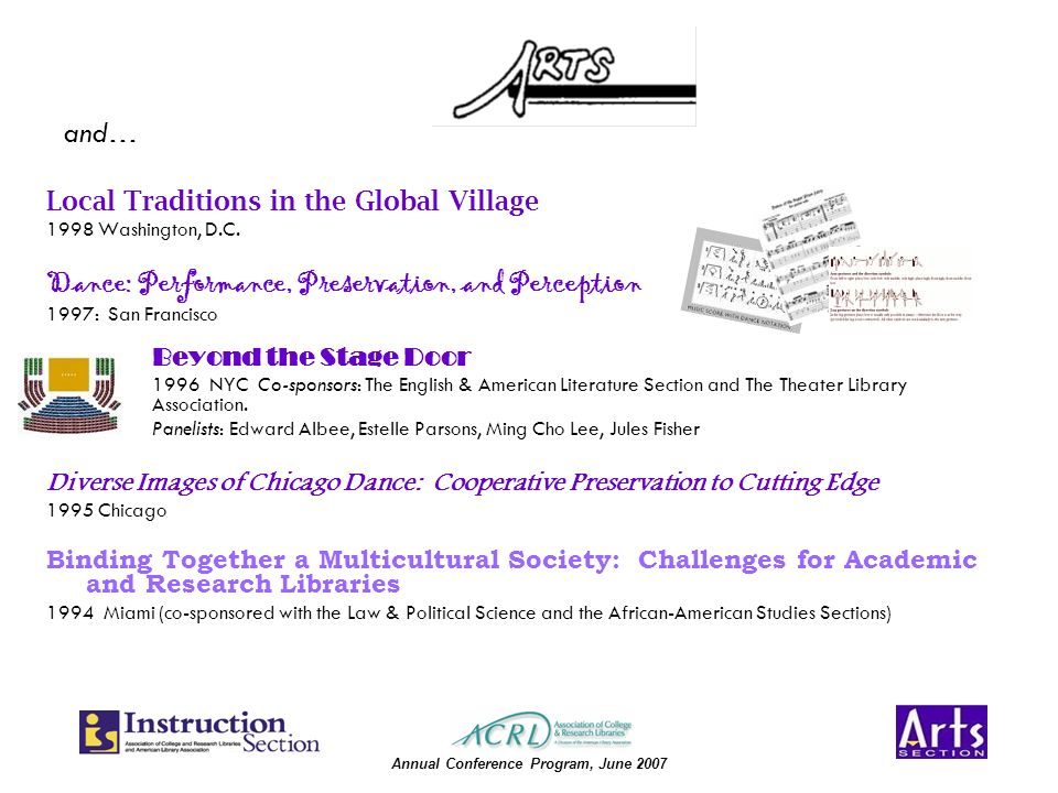 Annual Conference Program, June 2007 Local Traditions in the Global Village 1998 Washington, D.C.