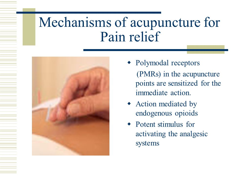 Mechanisms of acupuncture for Pain relief Polymodal receptors (PMRs) in the acupuncture points are sensitized for the immediate action. Action mediate