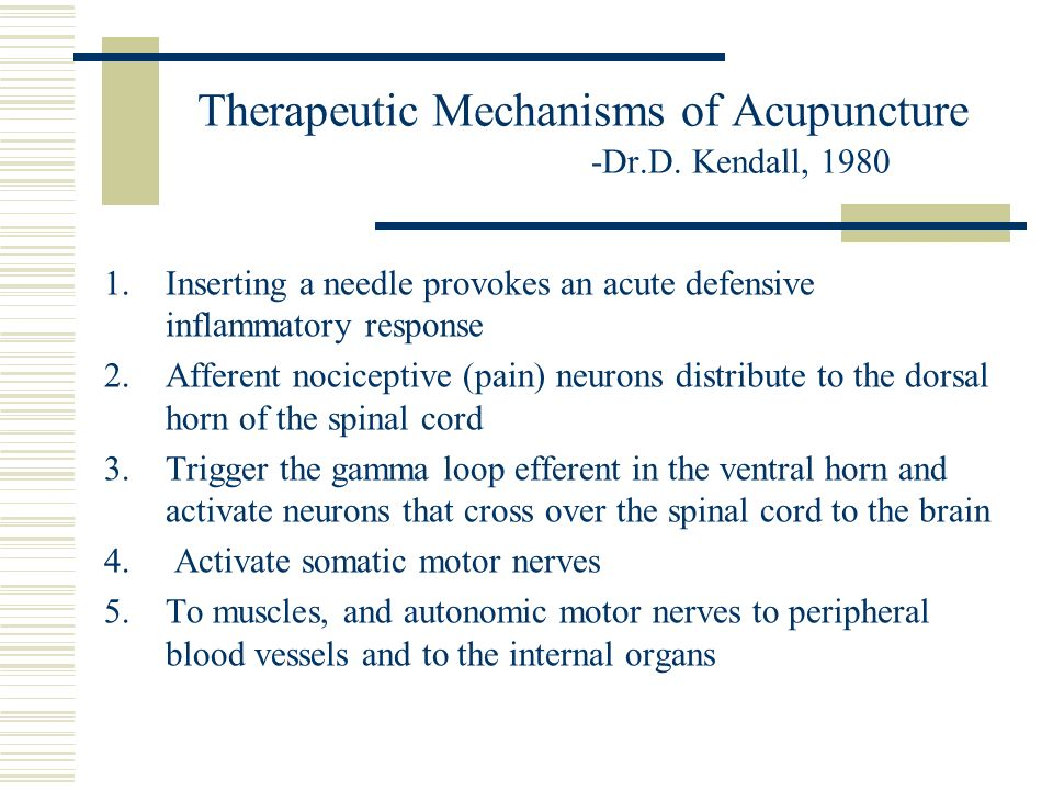 Therapeutic Mechanisms of Acupuncture -Dr.D. Kendall, 1980 1.Inserting a needle provokes an acute defensive inflammatory response 2.Afferent nocicepti