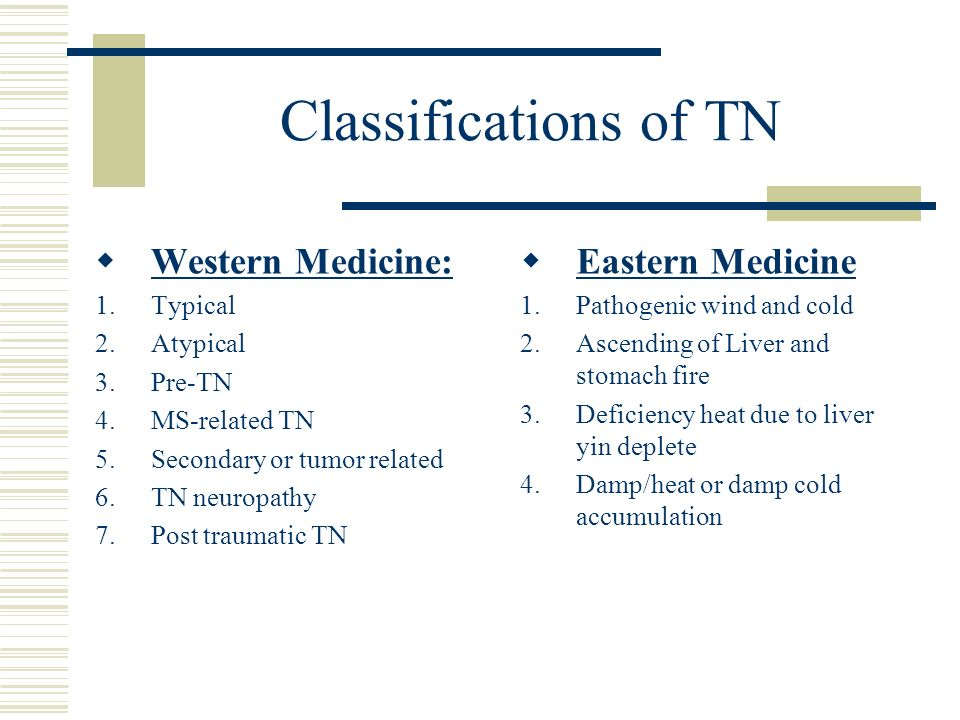Classifications of TN Western Medicine: 1.Typical 2.Atypical 3.Pre-TN 4.MS-related TN 5.Secondary or tumor related 6.TN neuropathy 7.Post traumatic TN