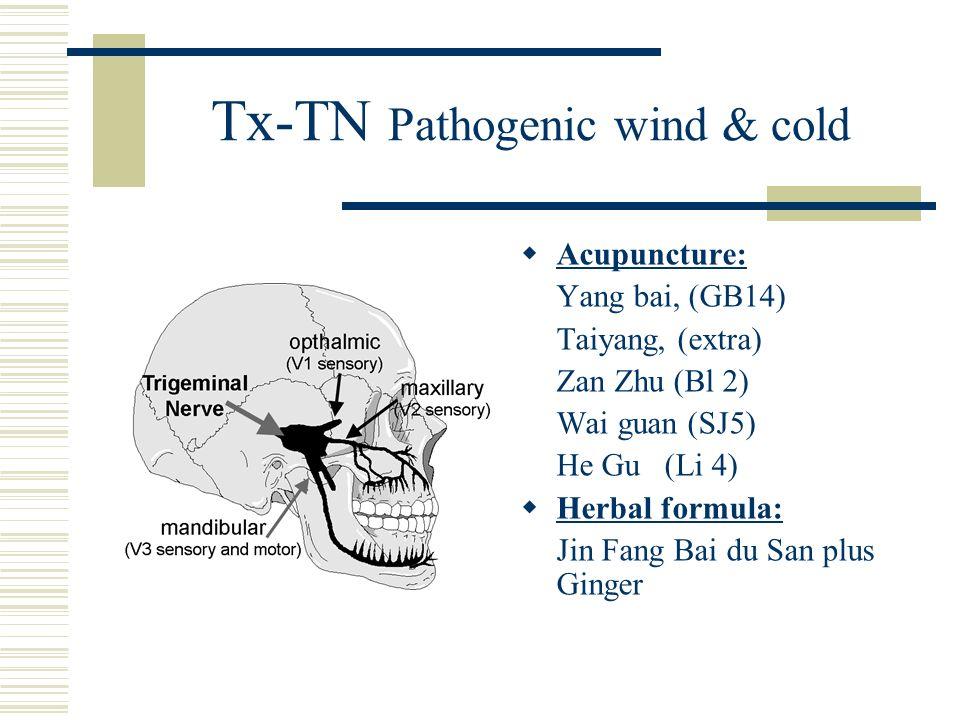 Tx-TN Pathogenic wind & cold Acupuncture: Yang bai, (GB14) Taiyang, (extra) Zan Zhu (Bl 2) Wai guan (SJ5) He Gu (Li 4) Herbal formula: Jin Fang Bai du