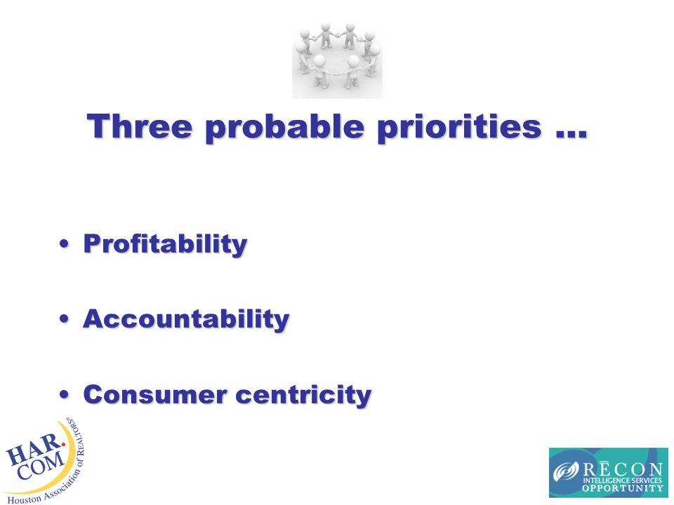 Three probable priorities … ProfitabilityProfitability AccountabilityAccountability Consumer centricityConsumer centricity