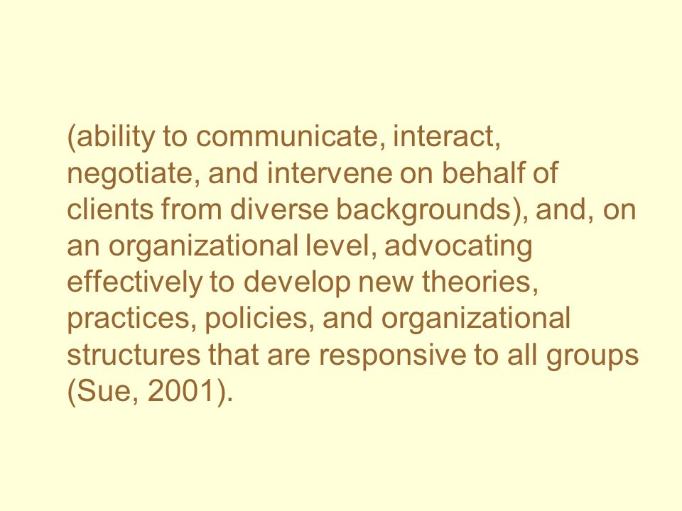 (ability to communicate, interact, negotiate, and intervene on behalf of clients from diverse backgrounds), and, on an organizational level, advocatin