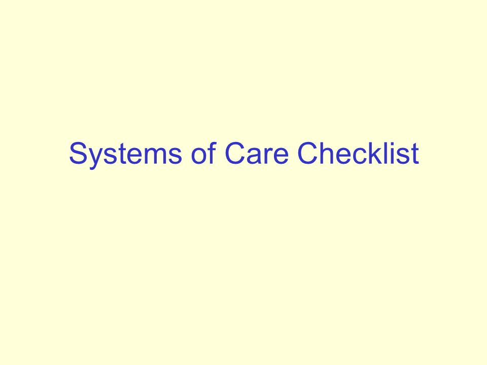 Systems of Care Checklist
