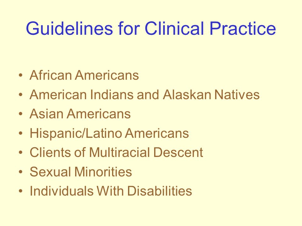 Guidelines for Clinical Practice African Americans American Indians and Alaskan Natives Asian Americans Hispanic/Latino Americans Clients of Multiraci