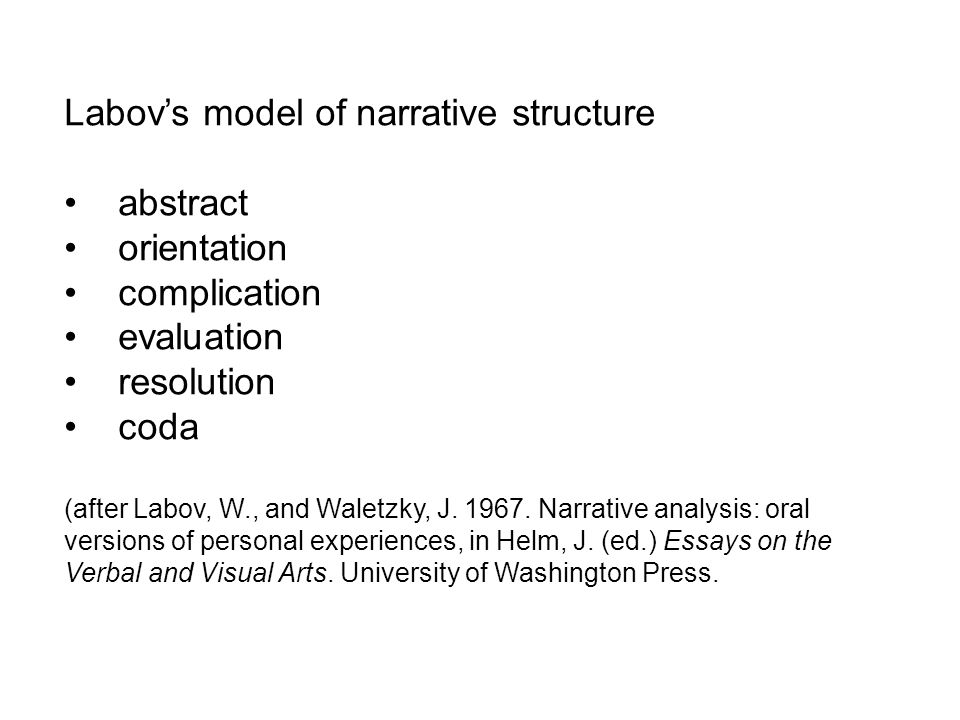 Labovs model of narrative structure abstract orientation complication evaluation resolution coda (after Labov, W., and Waletzky, J.