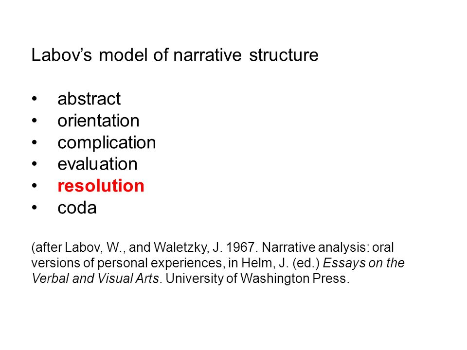 Labovs model of narrative structure abstract orientation complication evaluation resolution coda (after Labov, W., and Waletzky, J. 1967. Narrative an