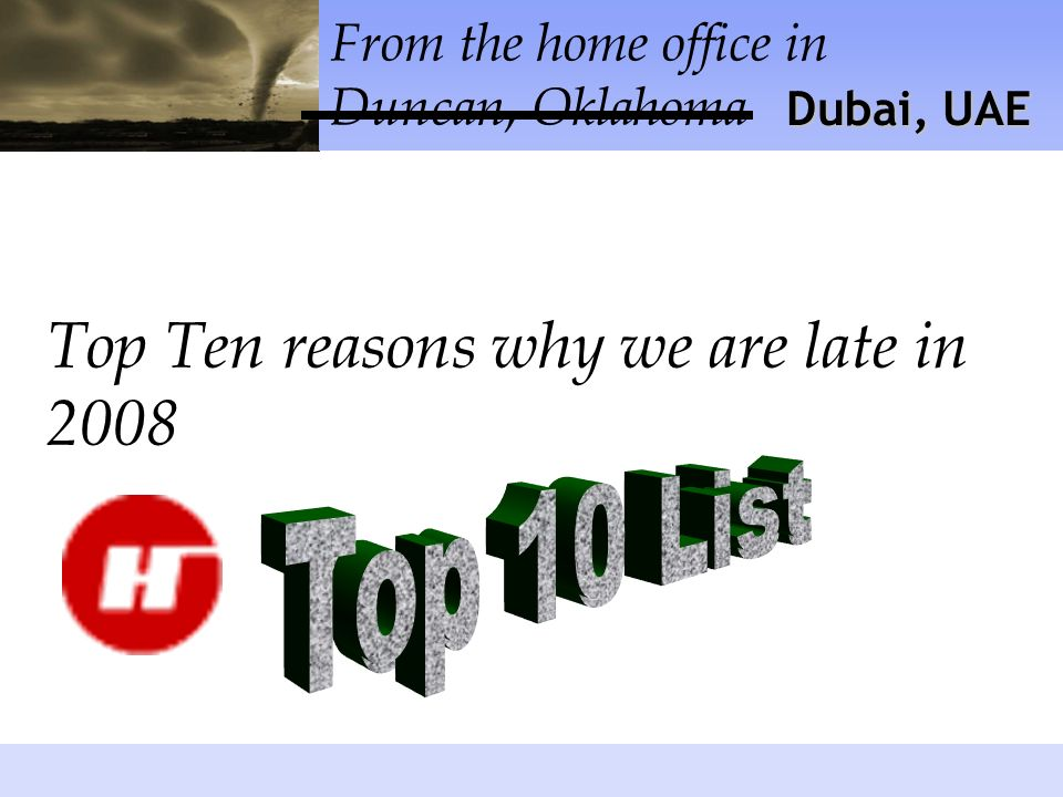 1: Werent you doing the backups!? Top Ten reasons why we are late in 2008