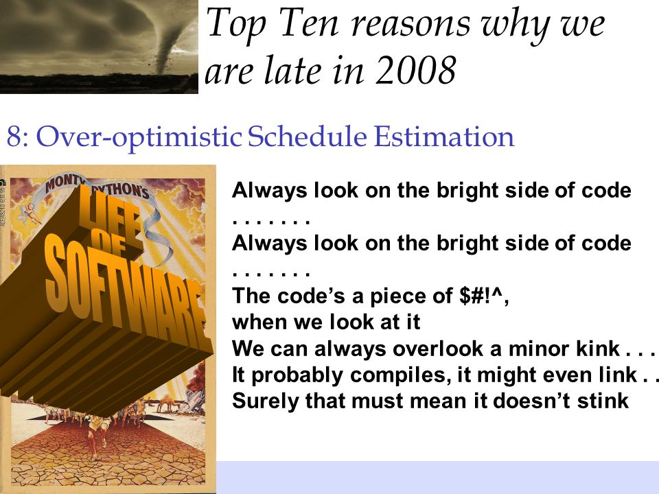 8: Over-optimistic Schedule Estimation Always look on the bright side of code.......