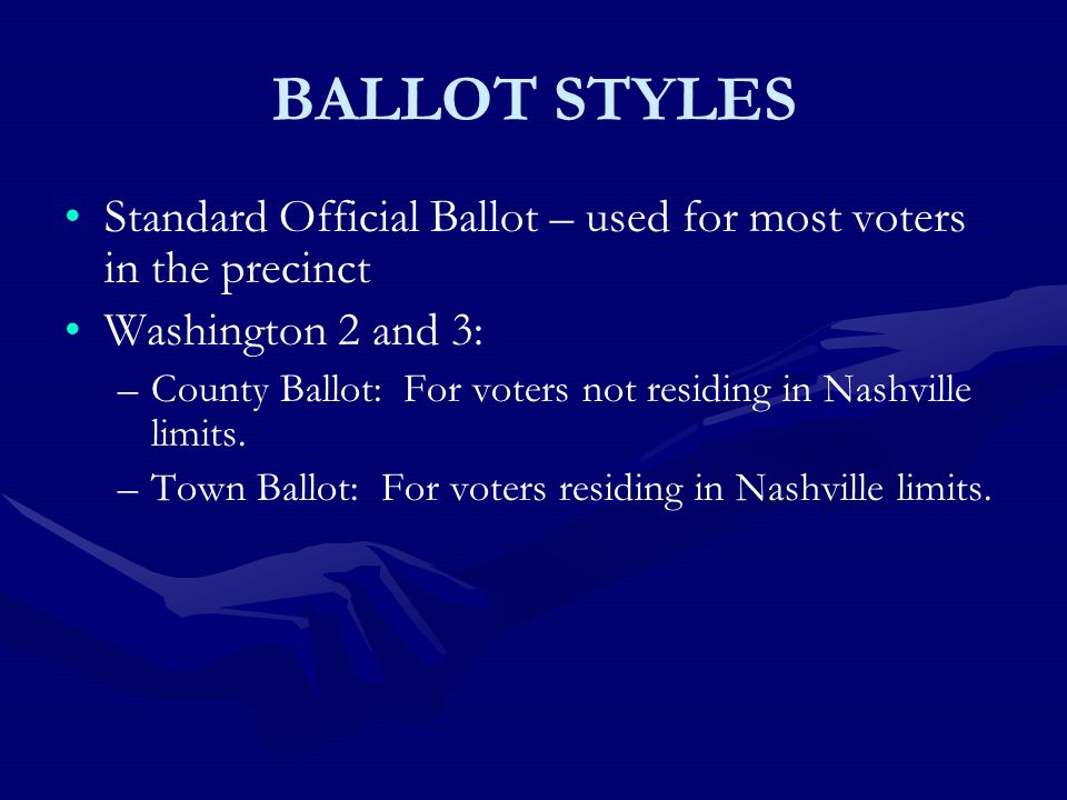 BALLOT STYLES Standard Official Ballot – used for most voters in the precinct Washington 2 and 3: – –County Ballot: For voters not residing in Nashville limits.