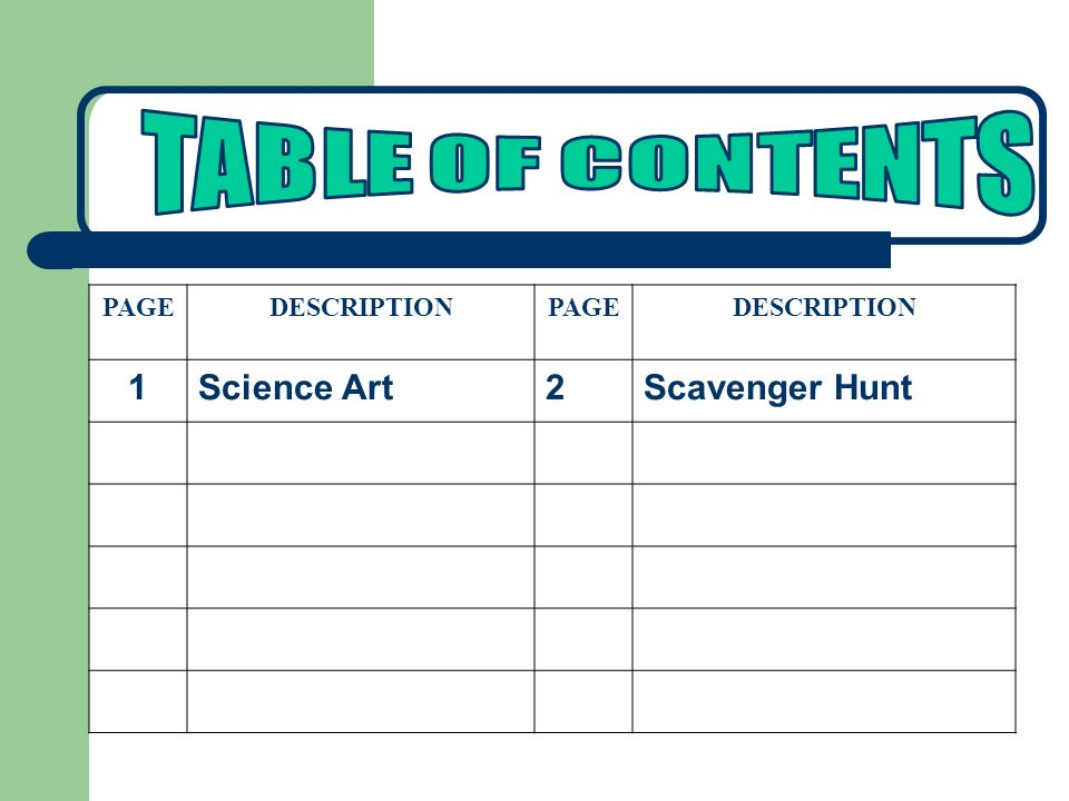 PAGEDESCRIPTIONPAGEDESCRIPTION 1Science Art2Scavenger Hunt