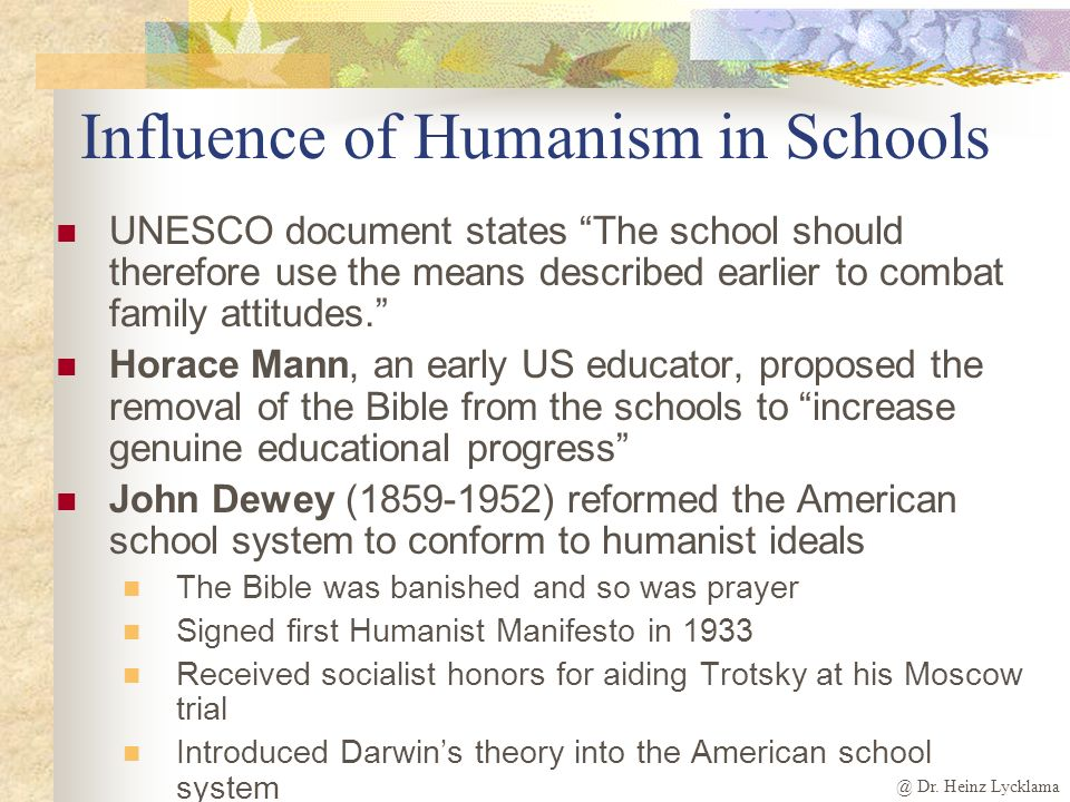 @ Dr. Heinz Lycklama Secular Humanism H umanism is any view that recognizes the value and dignity of the individual and seeks to better the human cond