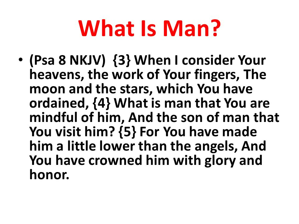 What Is Man? (Psa 8 NKJV) {3} When I consider Your heavens, the work of Your fingers, The moon and the stars, which You have ordained, {4} What is man