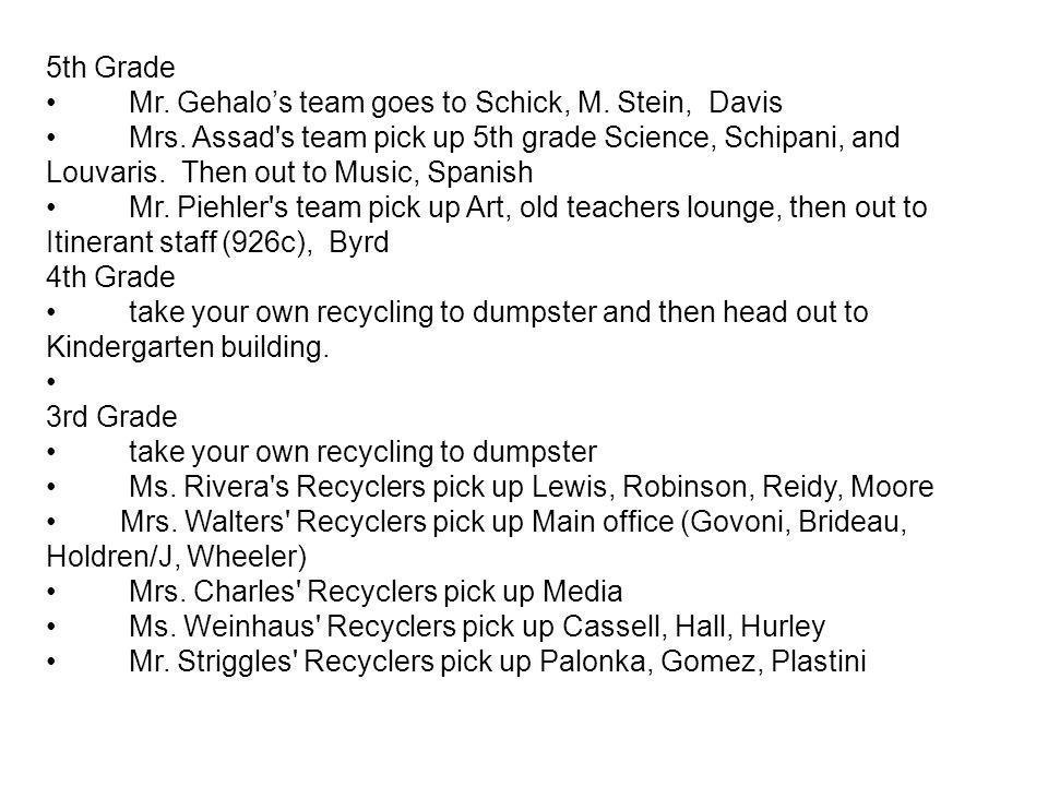 5th Grade Mr. Gehalos team goes to Schick, M. Stein, Davis Mrs.