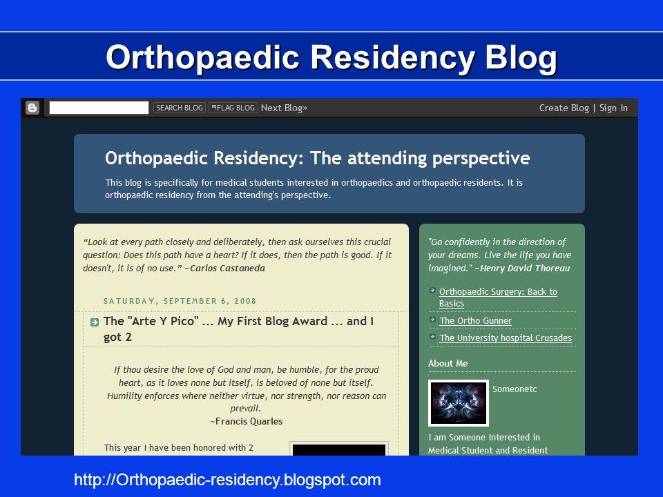 Orthopaedic Residency Blog http://Orthopaedic-residency.blogspot.com