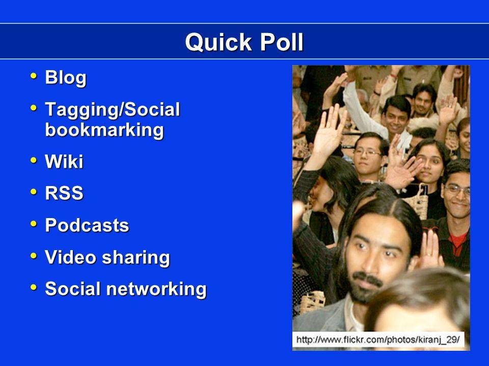 Quick Poll Blog Blog Tagging/Social bookmarking Tagging/Social bookmarking Wiki Wiki RSS RSS Podcasts Podcasts Video sharing Video sharing Social networking Social networking