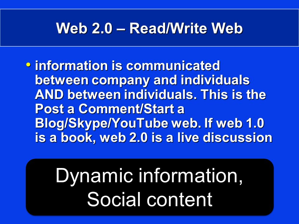 Web 2.0 – Read/Write Web information is communicated between company and individuals AND between individuals.