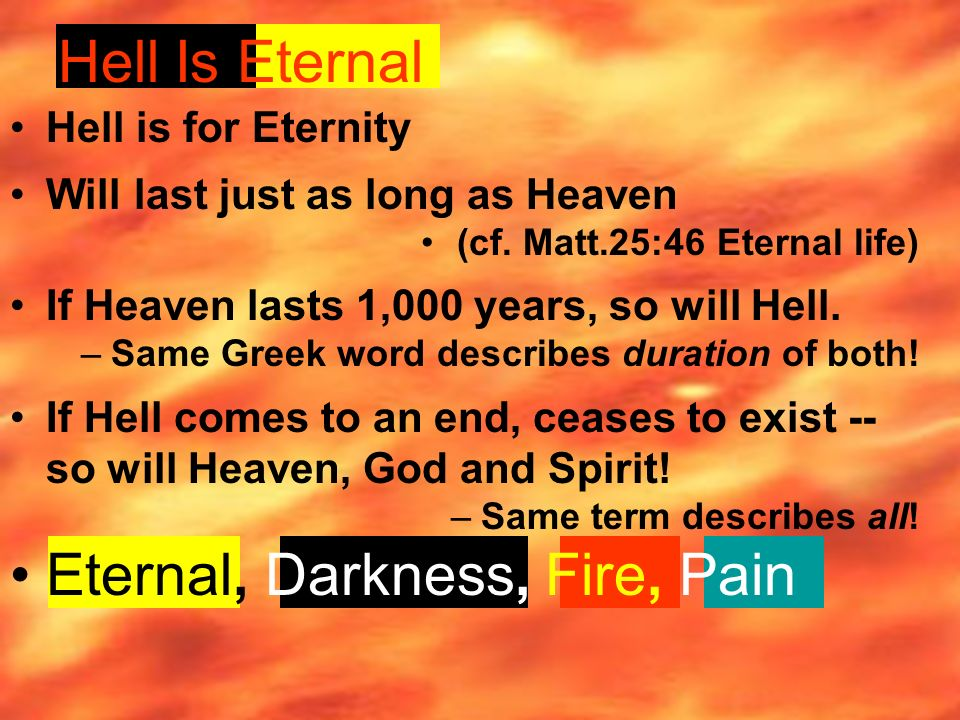 Hell Is Eternal Hell is for Eternity Will last just as long as Heaven (cf.