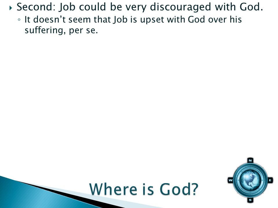 It doesnt seem that Job is upset with God over his suffering, per se.