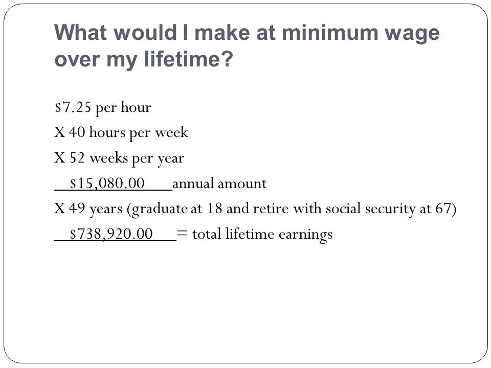 What would I make at minimum wage over my lifetime.